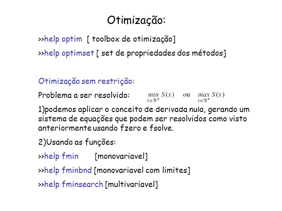 Otimização: >>help optim [ toolbox de otimização]